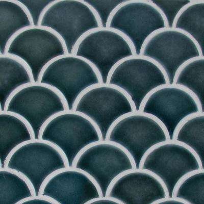 Azul Scallop Glossy 13.11 in. x 9.96 in. x 8 mm Glazed Ceramic Mesh-Mounted Mosaic Tile (9.1 sq. ft. / case)