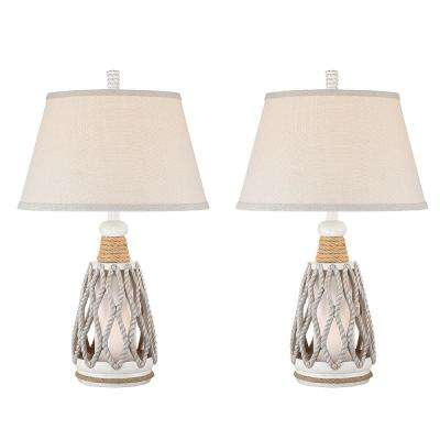 26 in. Antique White Indoor Table Lamp Set