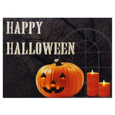 24 in. W x 18 in. H Happy Halloween LED Lit Canvas Wall Decoration