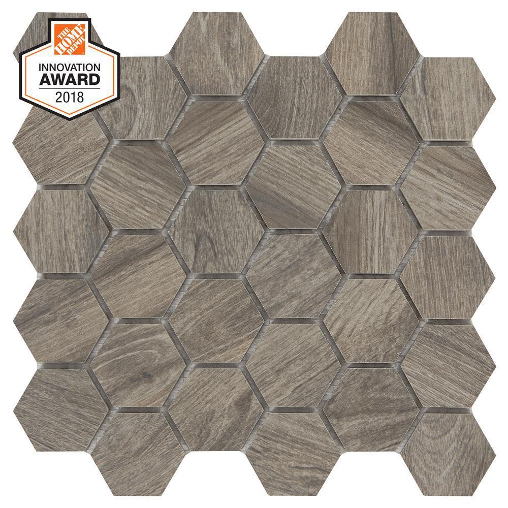 LifeProof Shadow Wood Hexagon 12 In. X 12 In. X 8mm Glazed