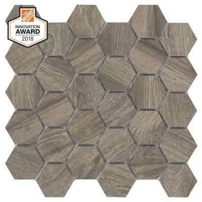 Shadow Wood Hexagon 12 in. x 12 in. x 8mm Glazed Porcelain Mosaic Tile