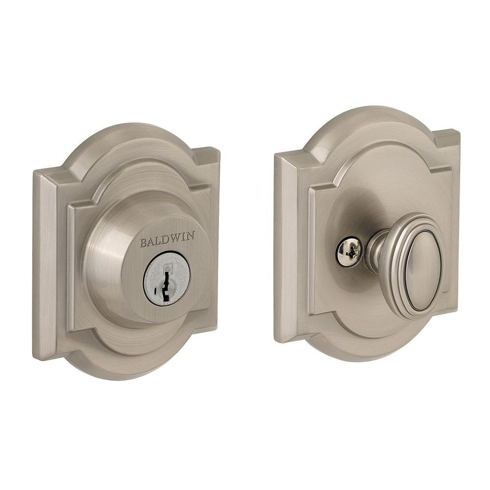 Prestige Single Cylinder Satin Nickel Arched Deadbolt