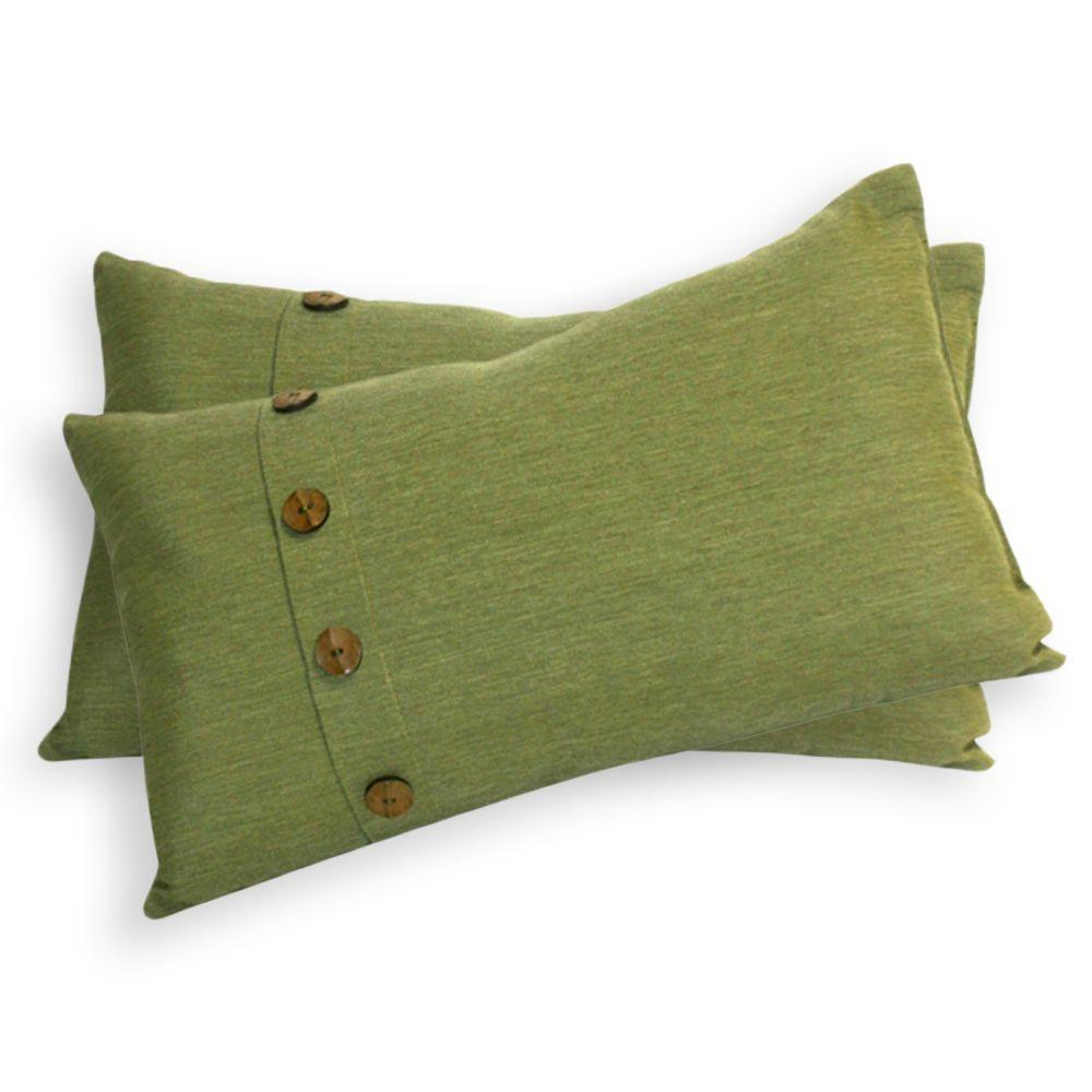 Peak Season Green Outdoor Lumbar Pillow with Buttons (2-Pack)-DISCONTINUED