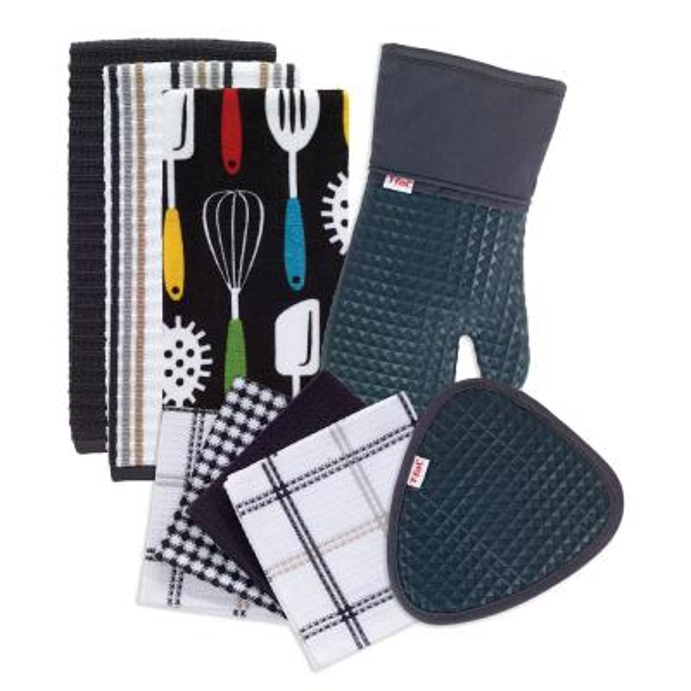 T-Fal Charcoal Cotton Utensils Print, Solids and Stripes Kitchen Textile Set (Set of 9)