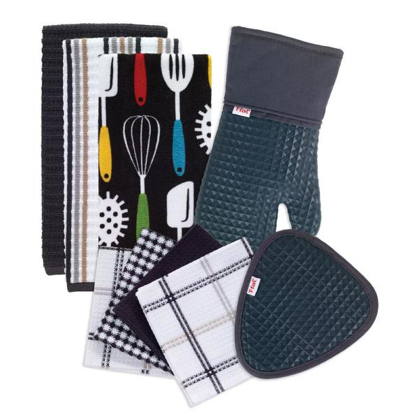 T-Fal Charcoal Cotton Utensils Print, Solids and Stripes Kitchen Textile Set (Set of 9)