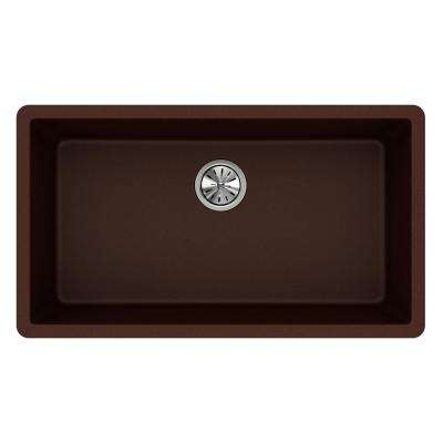 Quartz Classic Undermount Composite 33 in. Single Bowl Kitchen Sink in Pecan