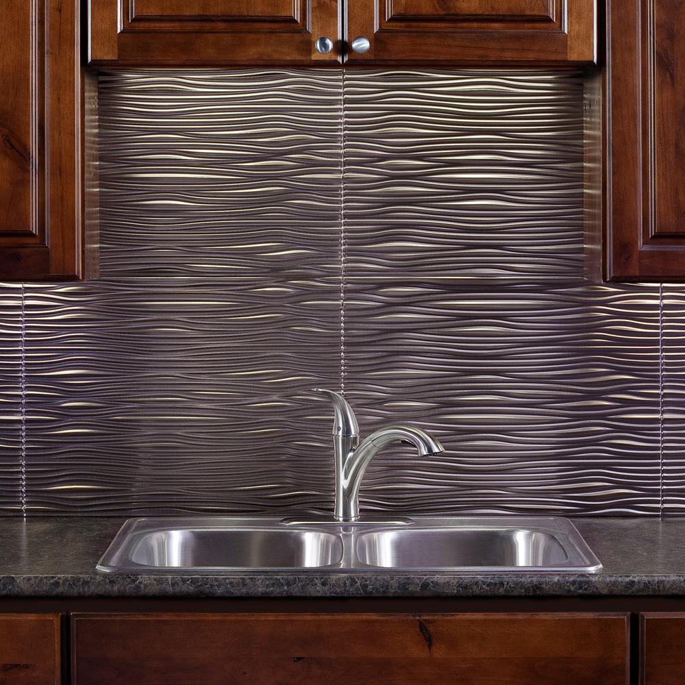 Brushed Nickel Vinyl Decorative Wall Tile Backsplash