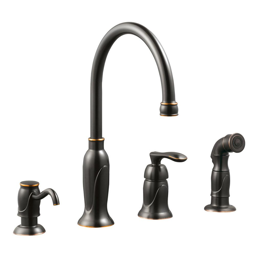 Madison Single-Handle Standard Kitchen Faucet with Side Sprayer with Soap Dispenser in Oil Rubbed Bronze