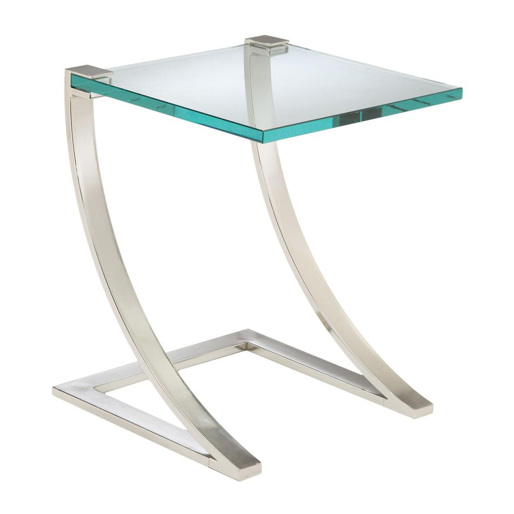 Uptown Polished Nickel Glass Top End Table, Polished Nick...