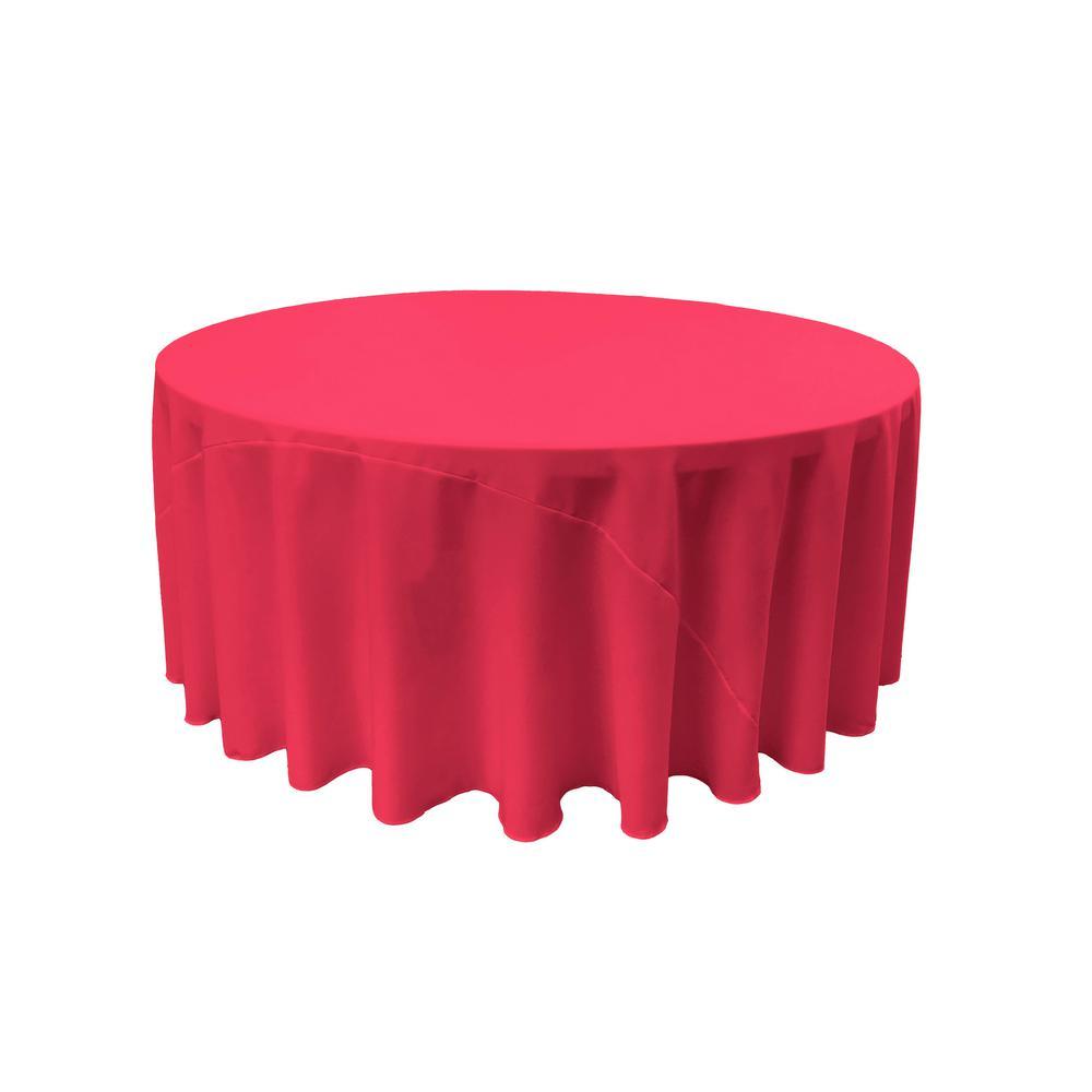 LA Linen 108 in. Fuchsia Polyester Poplin Round Tablecloth TCpop108R_FuchsiaP49