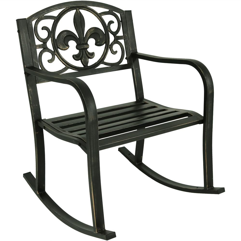 Sunnydaze Decor Fleur De Lis Black Cast Iron Outdoor Rocking Chair