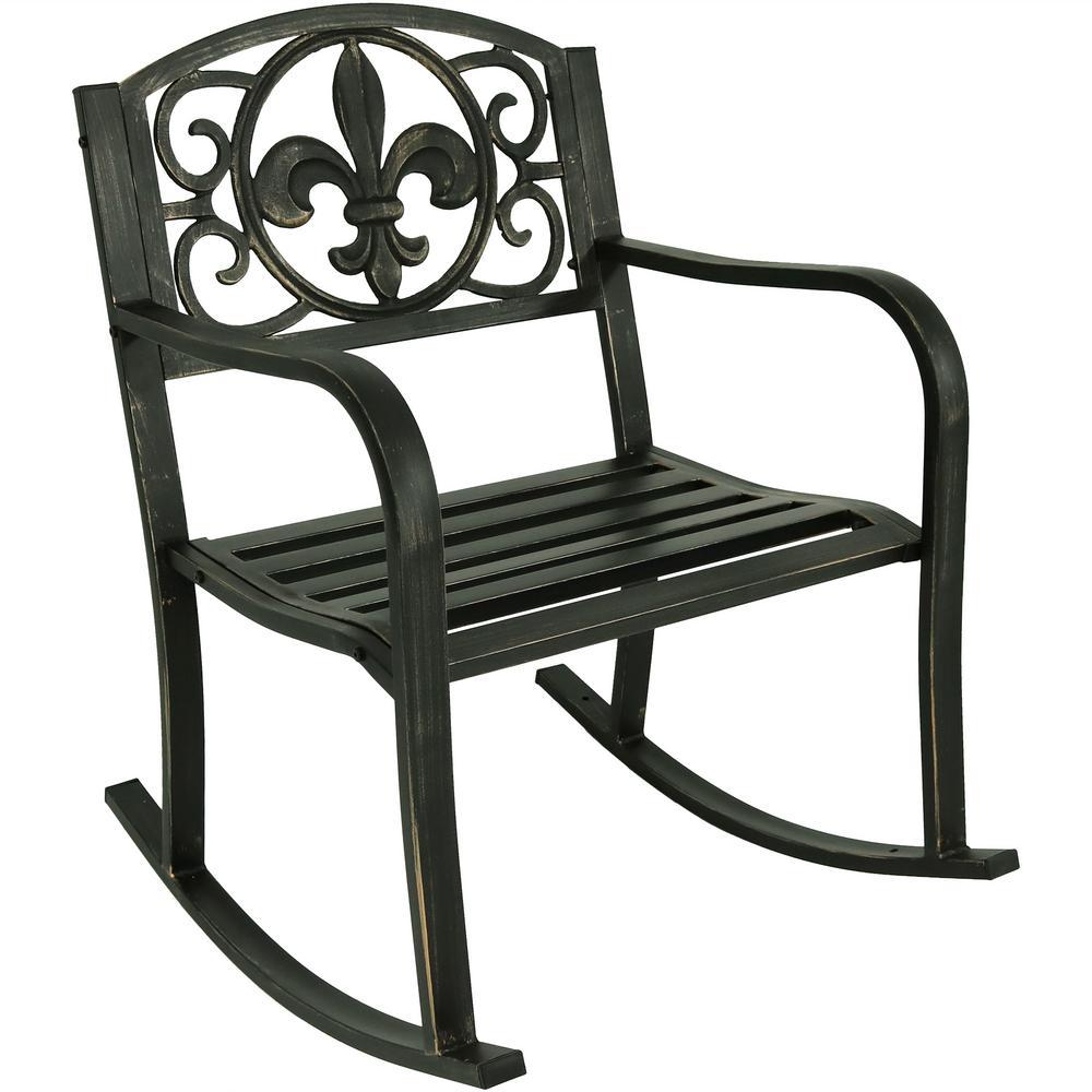 Fleur-de-Lis Black Cast Iron Outdoor Rocking Chair
