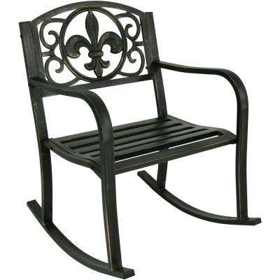 Fleur-de-Lis Black Cast Iron Outdoor Rocking Chair