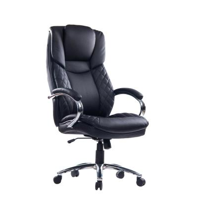 Black Faux Leather Smooth and Quiet Mobility Office Chair Design with Seat Height Adjustment