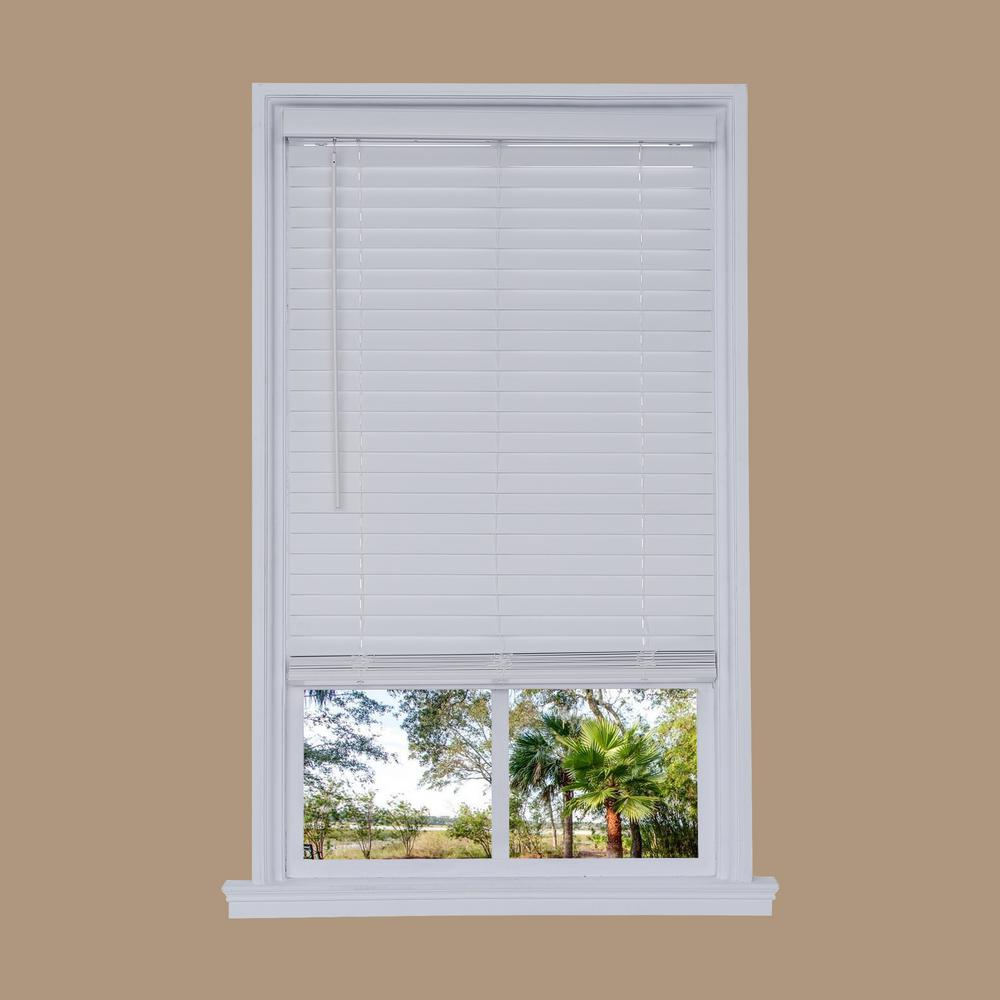 Cut-to-Width White Cordless 2 in. Distressed Faux Wood Blind ...