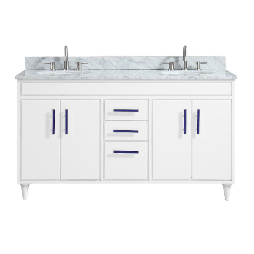 avanity layla 61 in w x 22 in d x 35 in h bath vanity in white rh homedepot com
