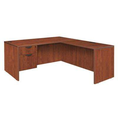 Magons 60 in. Cherry Single Pedestal L-Desk with 47 in. Return