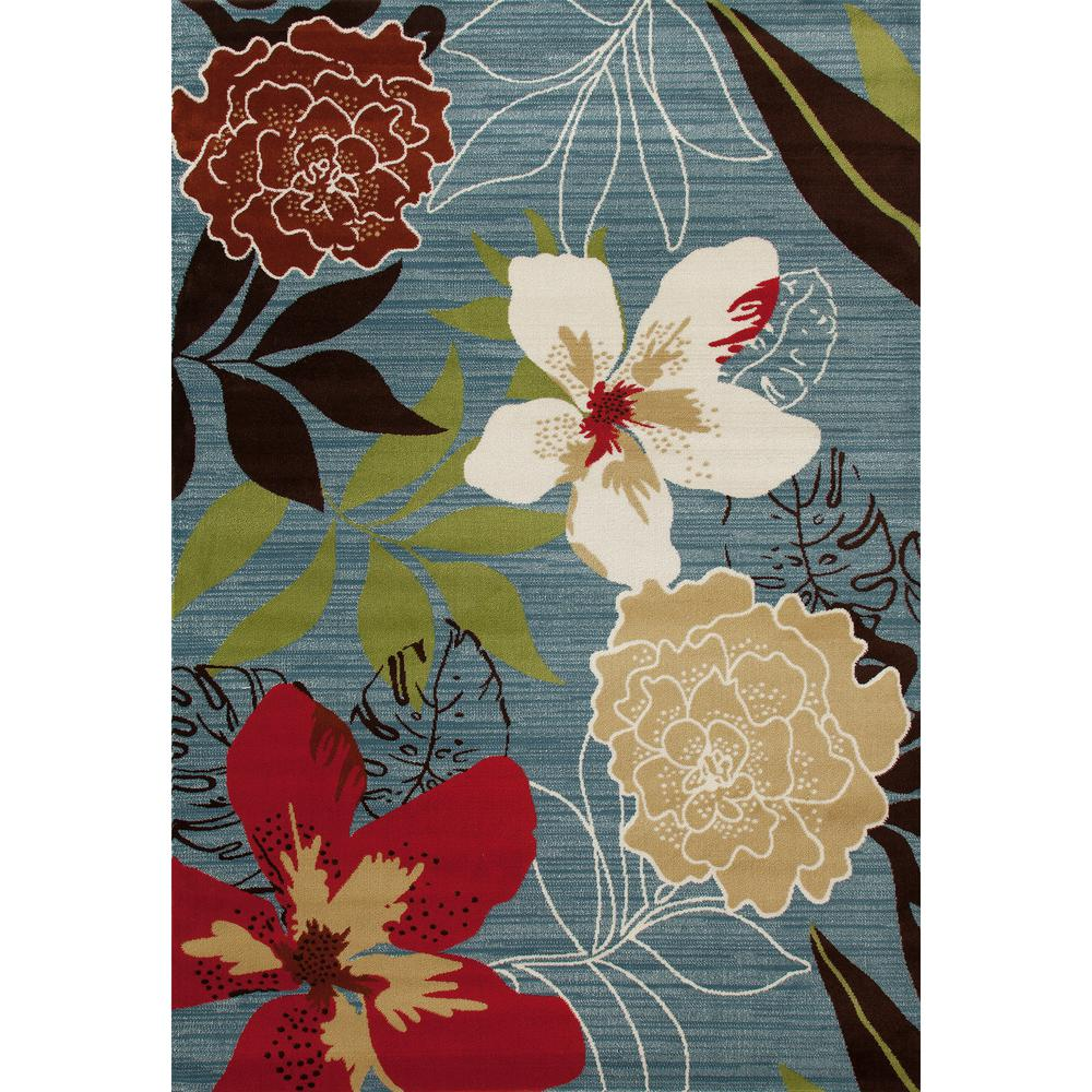 Homefires Indoor Outdoor Hooked Turquoise White Indoor: Art Carpet Antigua Tropical Floral Aqua 9 Ft. X 12 Ft