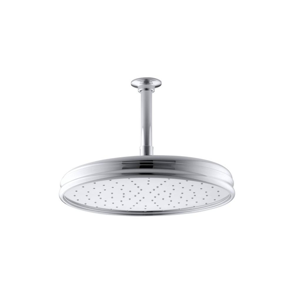 KOHLER 1-spray Single Function 12 in. Traditional Round Rain Showerhead in Polished Chrome