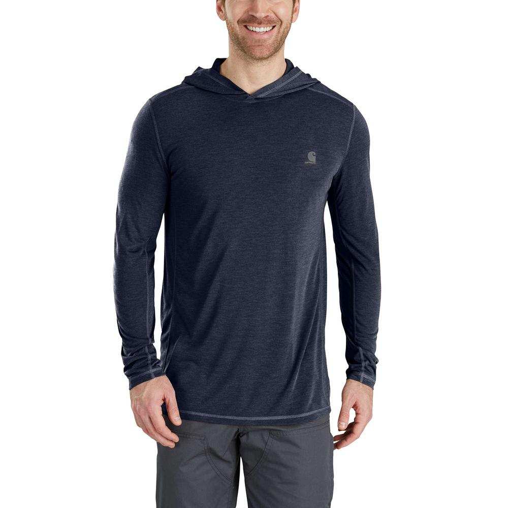 b38864851ac1 Carhartt Men's X-Large Navy Heather Polyester/Cocona Force Extremes Hooded  Pullover Shirt