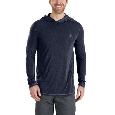 Men's X-Large Navy Heather Polyester/Cocona Force Extremes Hooded Pullover Shirt