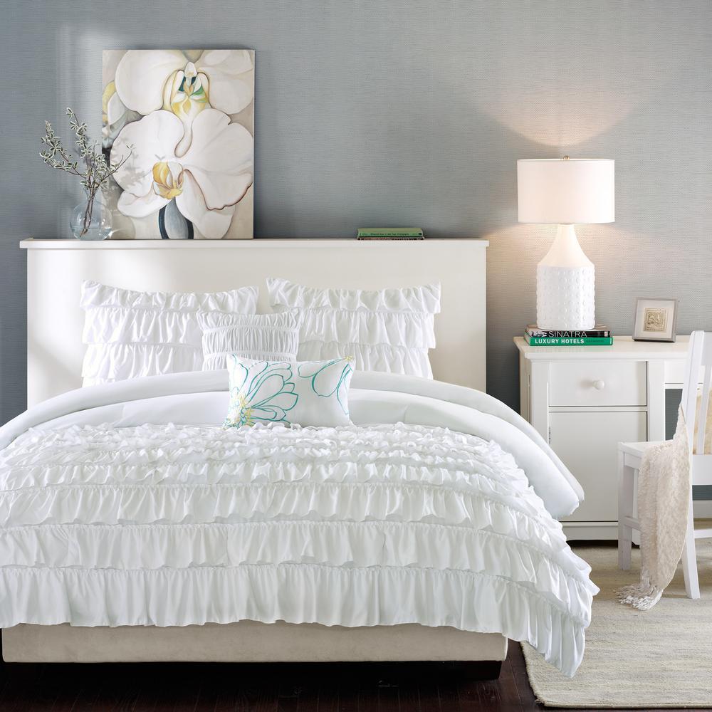 Demi 4-Piece White Twin Comforter Set