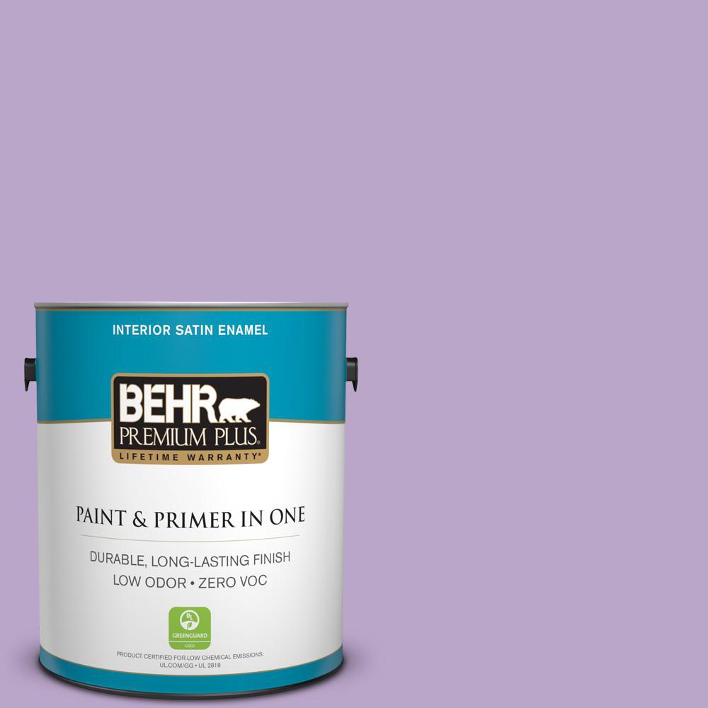 BEHR Premium Plus 1-gal. #M570-4 Cyber Grape Satin Enamel Interior Paint