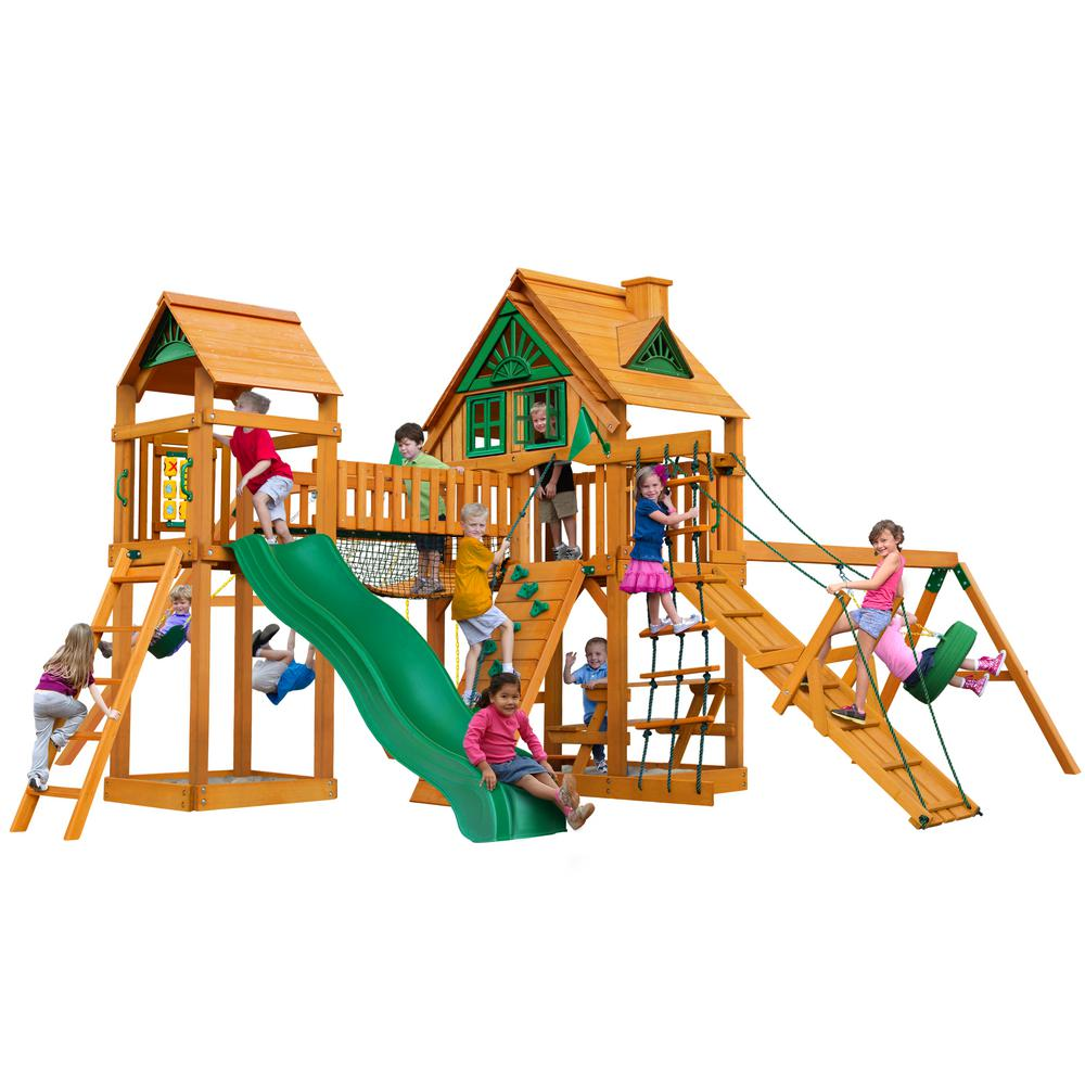 Gorilla Playsets Pioneer Peak Treehouse Wooden Playset With Tire
