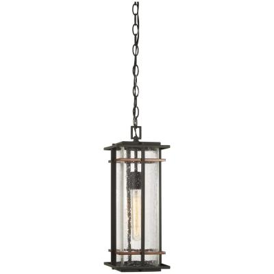 San Marcos Black Outdoor 1-Light Hanging Light with Antique Gold Accents
