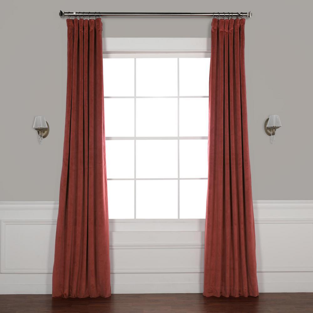 Signature Crimson Rust Orange Blackout Velvet Curtain - 50 in. W x 96 in. L