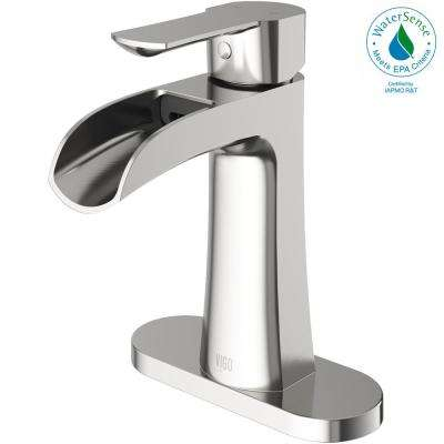 Paloma Single Hole Single-Handle Bathroom Faucet with Deck Plate in Brushed Nickel