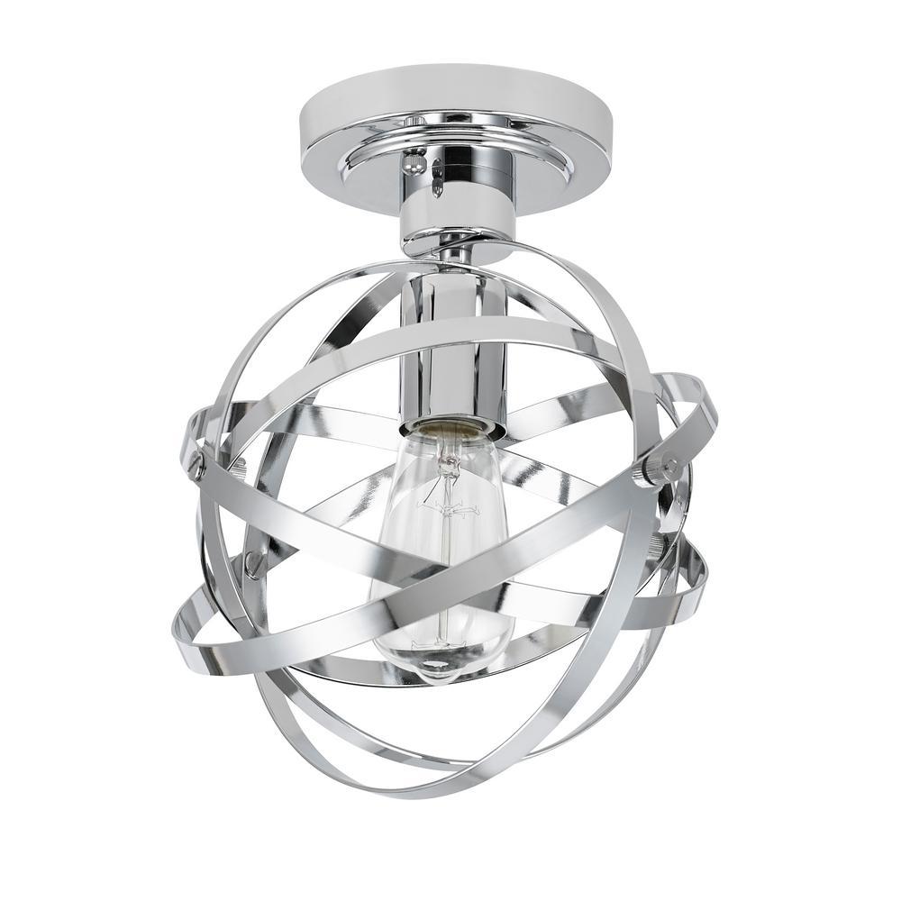 Catalina Lighting 1-Light Chrome Elliptical Rings Semi-Flushmount
