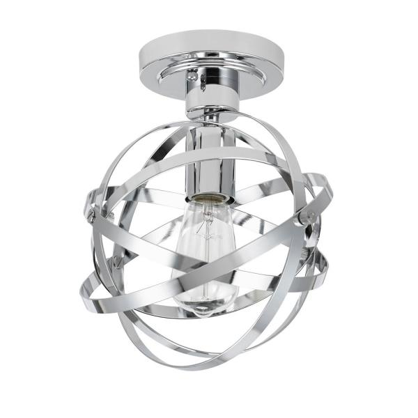 Modern Chrome Swirl 5 Light Semi Flush Ceiling Light