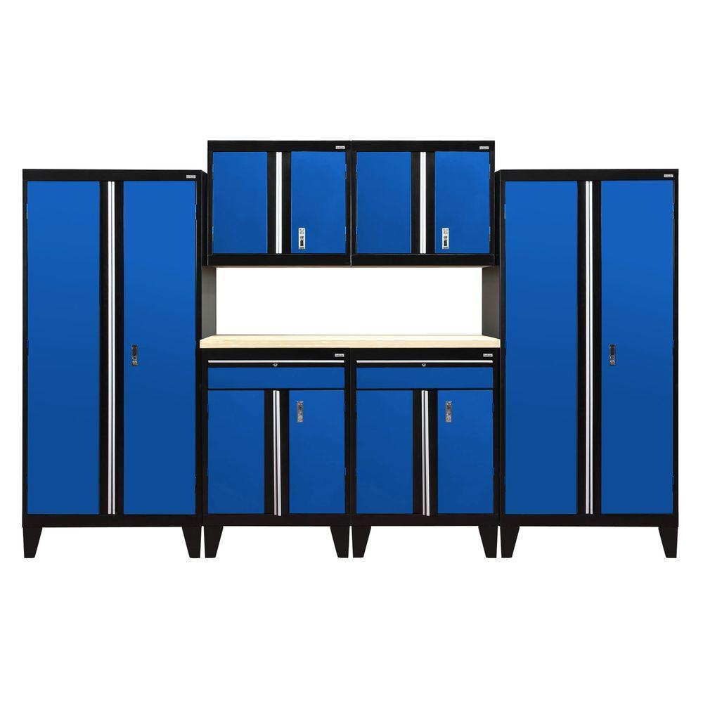 79 in. H x 144 in. W 18 in. D Modular Garage Welded Steel Cabinet Set in Black/Blue (7-Piece)