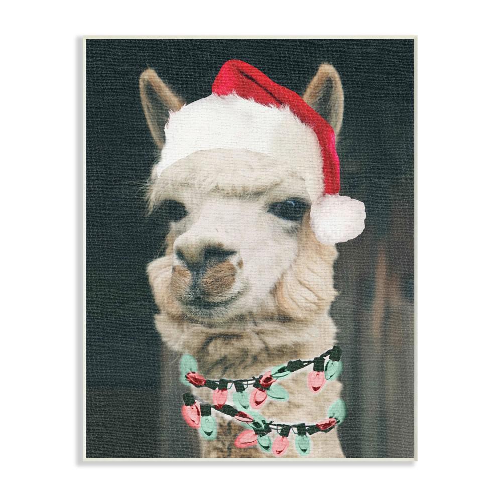 "10 in. x 15 in. ""Christmas Llama"" by Daphne Polselli Printed Wood Wall Art"