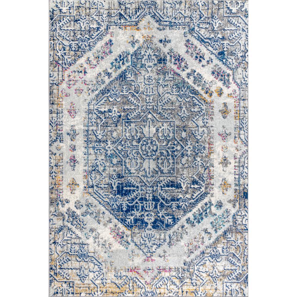 Modern Persian Boho Vintage Cream/Blue 3 ft. x 5 ft. Area Rug