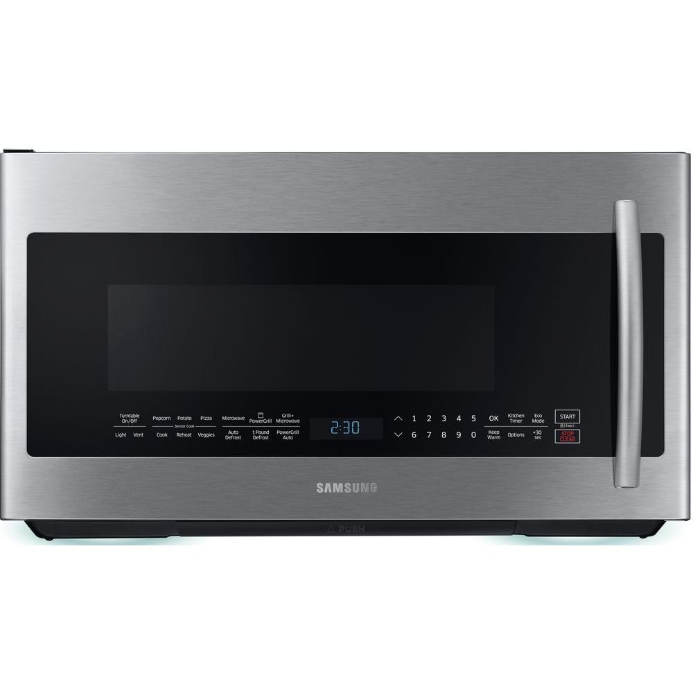 Samsung 2 1 Cu Ft Over The Range Grill Microwave With Sensor Cook In Stainless Me21k7010ds Home Depot