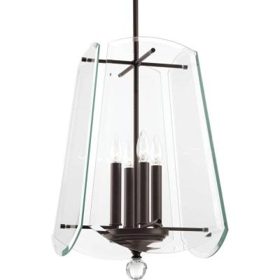 Esteem Collection 4-Light Antique Bronze Foyer Pendant with Clear Beveled Glass