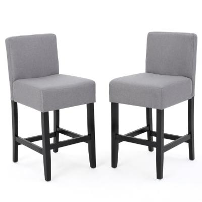 Lopez 26 in. Light Grey Fabric Counter Stool (Set of 2)