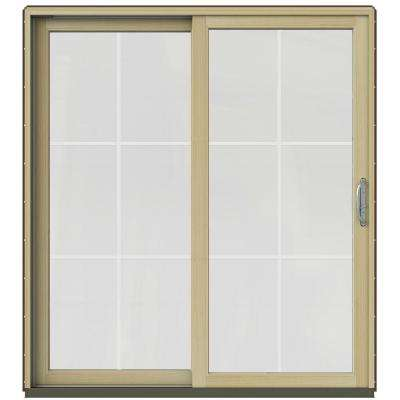 72 in. x 80 in. W-2500 Contemporary Brown Clad Wood Right-Hand 6 Lite Sliding Patio Door w/Unfinished Interior