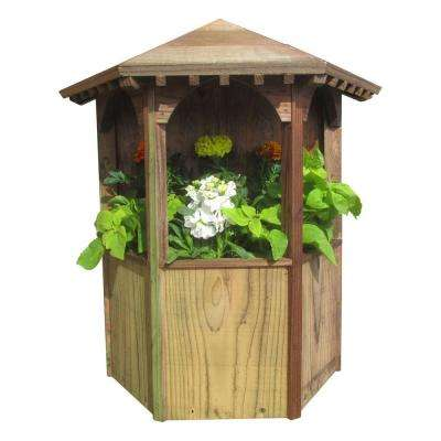 9 in. W x 19 in. H Treated Wood Wall Mount Gazebo Planter