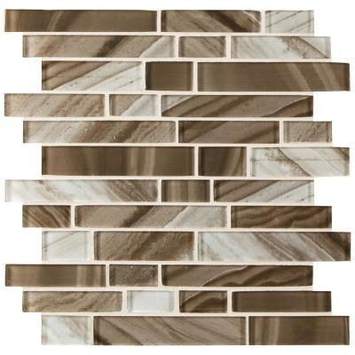 Coco Swirl Interlocking 11.81 in. x 11.81 in. x 8mm Textured Stone Glass Mesh-Mounted Mosaic Tile (9.7 sq. ft./Case)