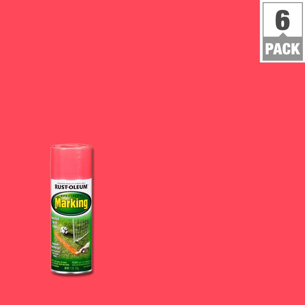 11 oz. Fluorescent Pink Marking Spray Paint (6-Pack)