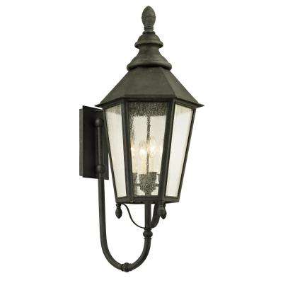 Savannah 4-Light Vintage Iron 37 in. H Outdoor Wall Lantern Sconce with Clear Seeded Glass