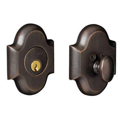 2-1/8 in. Distressed Oil Rubbed BronzeSingle Cylinder Door Prep Arch Deadbolt
