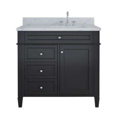 Samantha 36 in. W x 22 in. D Bath Vanity in Espresso with Marble Vanity Top in White with White Basin