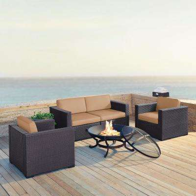 Biscayne 5-Piece Wicker Outdoor Sectional Set with Mocha Cushions