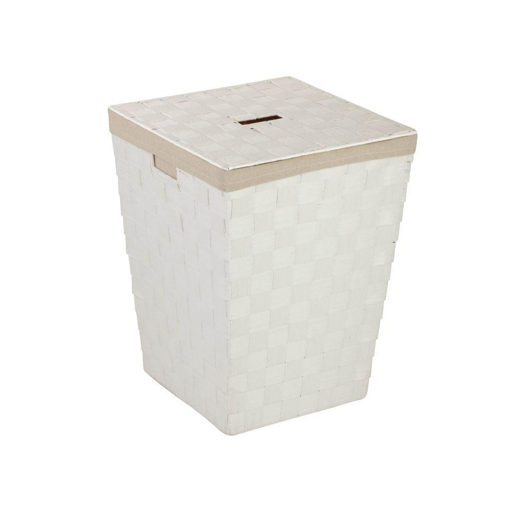 Honey-Can-Do Woven Hamper with Liner in White
