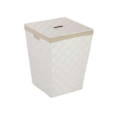 Woven Hamper with Liner in White