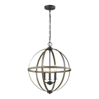 Calhoun 18 in. W 3-Light Weathered Gray Rustic Farmhouse Orb Chandelier with Distressed Oak Globe Finish Accents